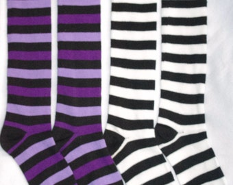 Knee High Striped Socks Purple/Black or White/Black