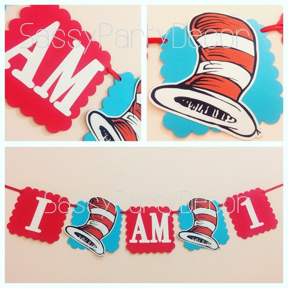 Cat Birthday Banner: Cat In The Hat Banner I Am One Cat In The Hat Banner Dr
