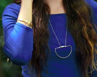 NESO | Necklace with Howlite, Lapis Lazuli, or Onyx Tube Stone on Gold Filled Chain