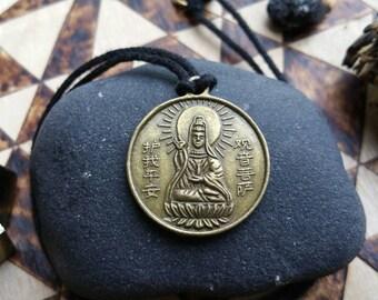 KOON YAM || Bodhisattva  of COMPASSION, Brass pendant on organic cotton cord or plated chain, Buddhist, choker, necklace