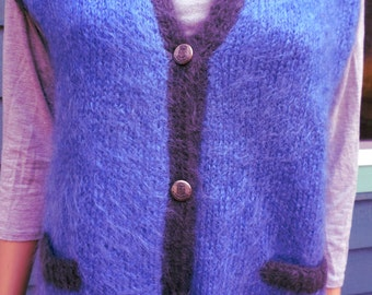 Vintage 70's Hand Knit Periwinkle Blue Hipster Soft Mohair Women's Sweater/Vest W/ Charcoal Gray Trim/Pewter Coat of Arms Buttons Med/Large