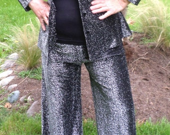 Vintage 1970's Electric Disco Black/Silver Metallic Pantsuit Long Wide Lapels/Roomy Palazzo Pants.Bell Bottoms By Sear Fashions Size Med/Lg