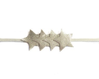 Baby Star Headband, champagne stars headband, leather baby headbands, platinum stars, toddler star bands, leather stars