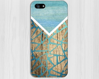 Geometric Gradient Blues x Wood Design Phone Case for iPhone 6 6 Plus iPhone 7  Samsung Galaxy s8 edge s6 and Note 5  S8 Plus Phone Case