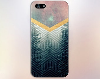 Geometric Woods x Gold Chevron Watercolor Phone Case for iPhone 6 6 Plus iPhone 7  Samsung Galaxy s8 edge s6 and Note 5  S8 Plus Phone Case
