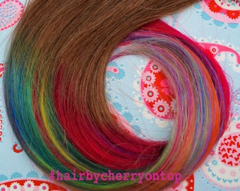 Medium Brown Clip-in Hair Extensions - Rainbow Hair!