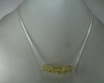 Sale, Natural Lemon Quartz Beaded Necklace, Bar Necklace, Gift For Her, Anniversary Gift