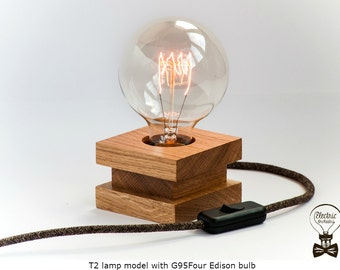handmade t2 model wooden made from oak edison table lamp with switch