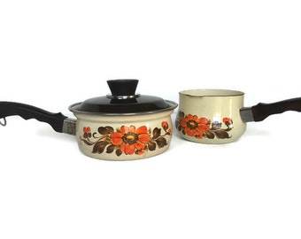 Vintage Moneta enamel pots Italian cookware floral sauce pans made in Italy