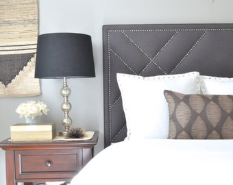 Upholstered Headboard, King, Queen, Full, Twin Size, Smoke Gray Linen Fabric, Antique Pewter Nailheads w/ Geometric Design