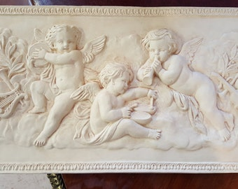 "Architectural Frieze, Cupids, Desgner Resin, 15 1/2"" Long"