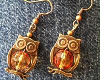 Goldtone Owl Drop Earring