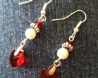 Crystal Heart Pendant Earring