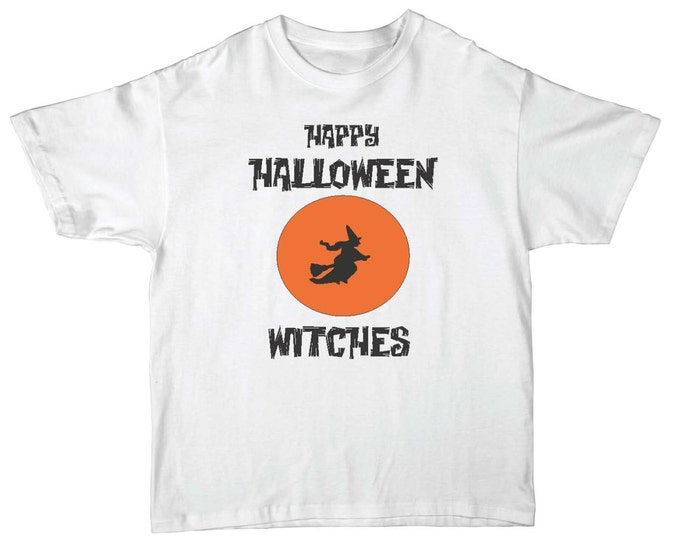 Mens Happy Halloween Witches t-shirt. Short Sleeve- Funny halloween Shirt.