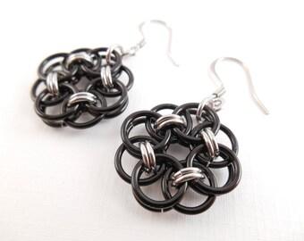 Black Flower Earrings - Black Anodized Aluminum & Stainless Steel Helm's Weave Chain Maille Circle Earrings