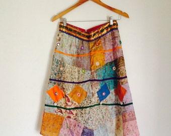 Vintage Indian 70's Embroidered Mirrored Skirt/Tribal/Ethnic/Festival/Kutsi/Boho/Gypsy/Indie Skirt/Embellished/Block Print/Small/Medium