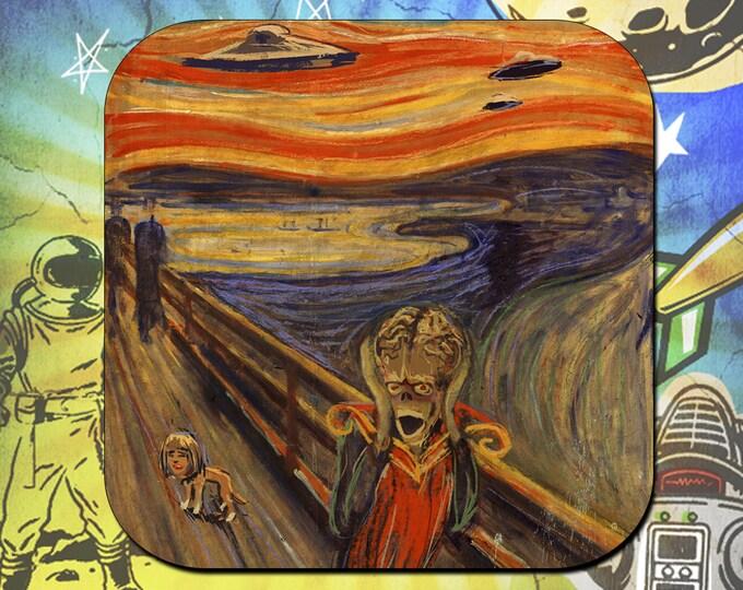 Edvard Munch's the Scream inspired Mars Attacks Coasters
