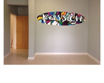Wall hanging surfboard passion graffiti surf board