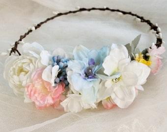 Rustic Floral Hair Crown - Bridal Floral Crown