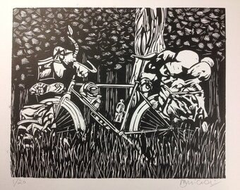 Original linocut 'Loaded touring bike' . Edition of 20.