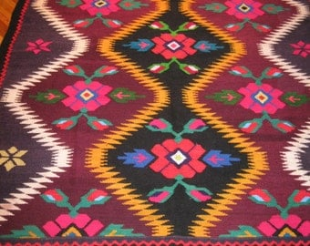 Antique hand woven wool carpet /rug from Transylvania , traditional Romanian rug , vintage traditional Eastern European carpet  - 42