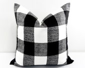 Black Pillow. Black  Buffalo Check Cushion Covers. Black and White. Country Style Pillow Case. 1 piece.  cotton. Select your size