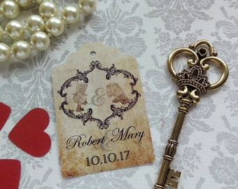 Gothic Tags. Skeleton Tags. Halloween Tags. Bride and Groom Tags. Gothic Wedding. Set of 25 to 300 pieces, Custom Language available.