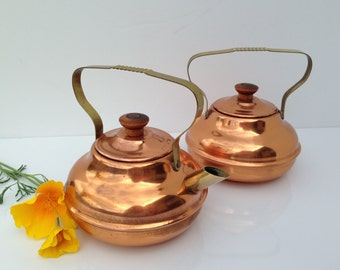 small copper pots are a nice hollywood regency set of vintage decorative copper one cup tea - Copper Pots