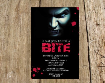 Vampire Halloween Party Invitation, Personalized DIY Printable File