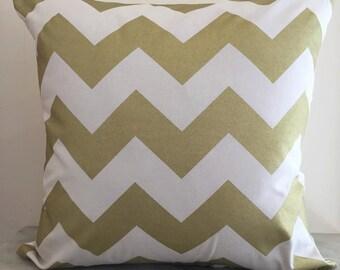 Metallic Gold Zig Zag Chevron on Natural Canvas Cushion Pillow