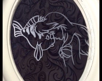 Stunning Hand Engraved Ariel and Flounder, The Little Mermaid Mirror In Frame!
