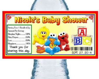 20 SESAME STREET Baby Shower Water Bottle Labels ~ Glossy ~ Waterproof Ink
