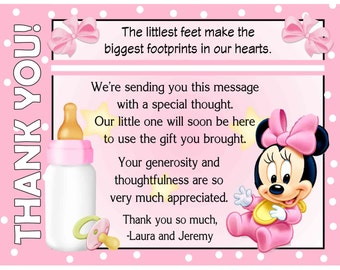 20 Baby Minnie Mouse Baby Shower Thank You Cards with envelopes - FREE SHIPPING