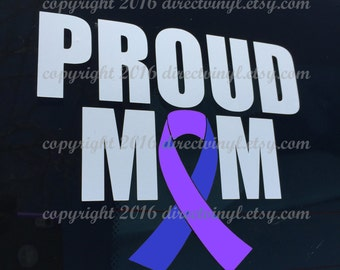 Blue And Purple Awareness Ribbon Proud Mom Window Decal (Pediatric Stroke, Rheumatoid Arthritis, Juvenile Arthritis))