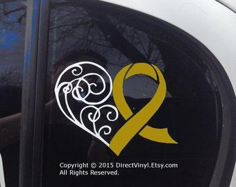 Metallic Gold Awareness Ribbon Heart Scroll Window Decal (Childhood Cancer, Neuroblastoma, COPD, Rhabdomyosarcoma)