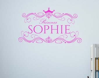 Personalised Princess wall decal vinyl sticker, name wall decal, children wall decal, children wall decor, personalized