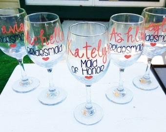 5 Bachelorette Glasses, Bachelorette Party, Wedding Wine Glasses Gift, Bride's Crew