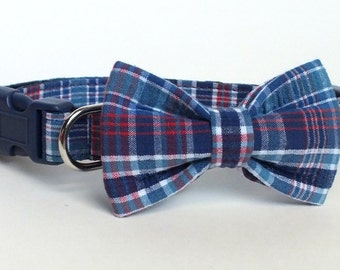 Royal and Red Plaid Dog Collar Bow Tie set, pet bow tie, collar bow tie, wedding bow tie