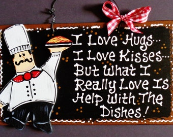 Fat Chef Overlay Hugs Kisses Dishes Kitchen Sign Bistro Cucina Decor Wall Plaque