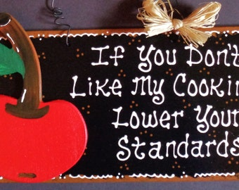 CHERRY KITCHEN If You Don't Like My Cooking SIGN Cherries Wall Decor Plaque