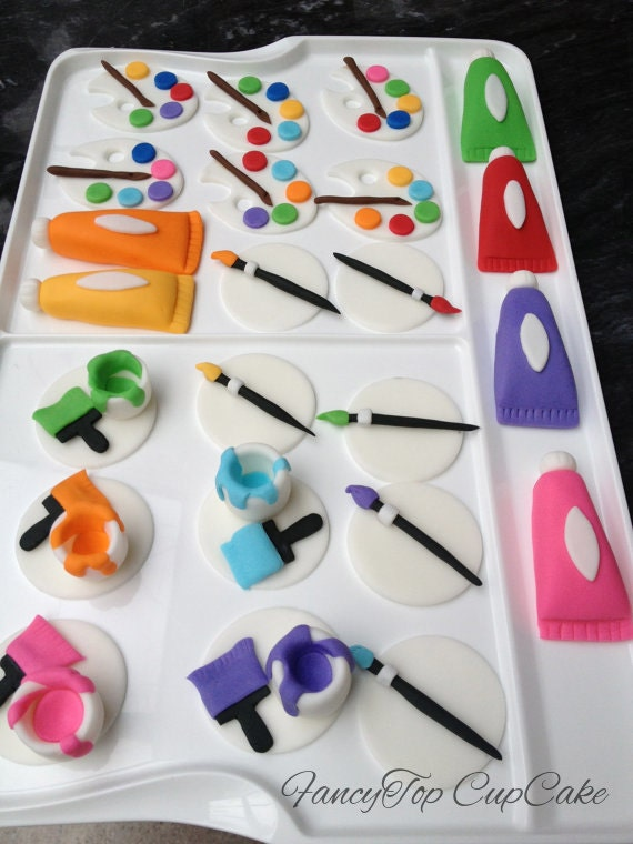 Art Party 12handmade edible fondant cupcake toppers made by