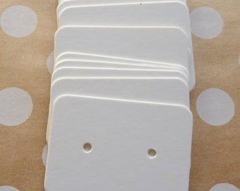 50 Small White Earrings Display Cards Crafts