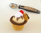 Mini Waffle Sundae Knitted Stuffed Ornament - Kids Room Decor - Play Food - Miniature Ice Cream Treat - Stocking Stuffer - Food Ornament