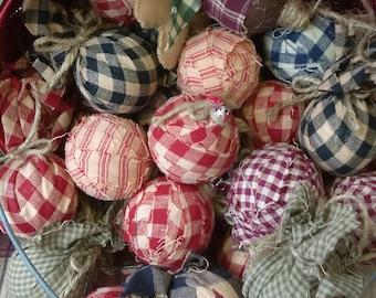 Handmade ragball ornaments