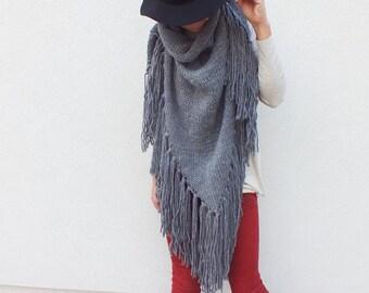 Triangle fringe scarf /Oversized gray scarf/ Fringed Scarf / Poncho with Fringe / Boho Wrap Shawls
