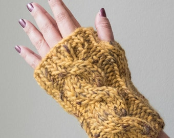 Woolen Knitted Cable Fingerless Gloves Wrist Warmers - Two Colours Available