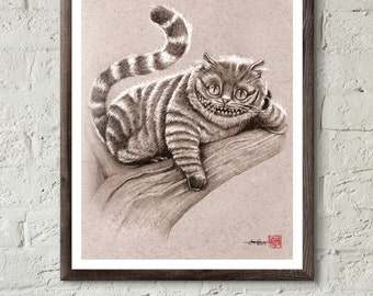Chesire Cat from Tim Burton's Alice in Wonderland  - Illustrated Giclee Print