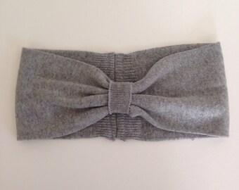 Upcycled silk and cashmere turban style headband, ear warmer, head wrap.