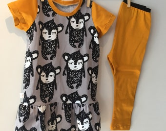 T-shirt dress with sloths and leggings, eco, mt 84