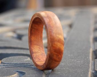 Men Exotic Amboyna Burl wood ring size 9 1/2